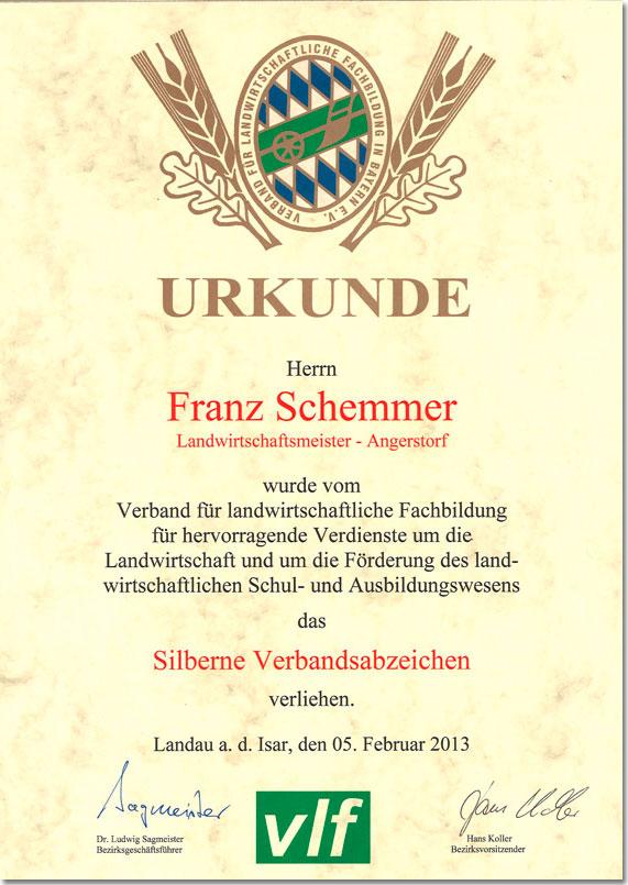 Urkunde Schemmer