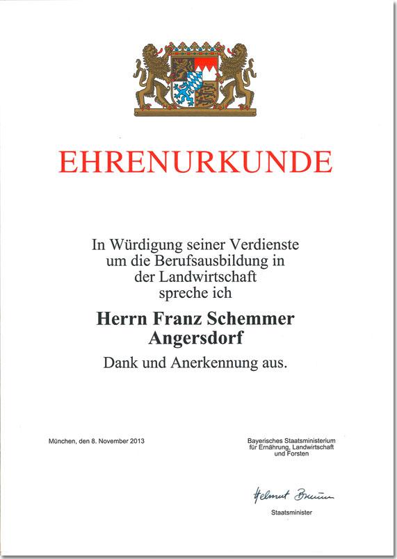 Ehrenurkunde Verdienste Berufsausbildung